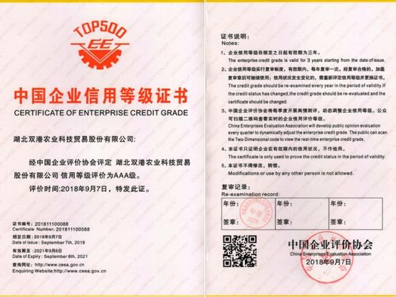 中国企业信用等级证书